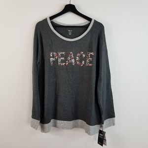 Style & Co PEACE embellished Raglan Shirt Gray